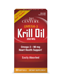 Krill Oil 350 mg by 21st Century HealthCare, Inc., view from the front.
