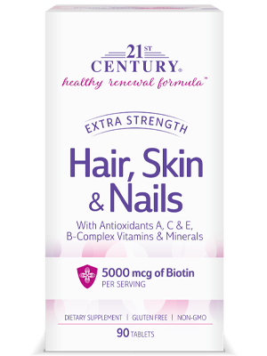 Hair, Skin & Nails Extra Strength by 21st Century HealthCare, Inc., view from the front.