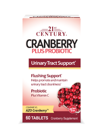 Cranberry Plus Probiotic by 21st Century HealthCare, Inc., view from the front.