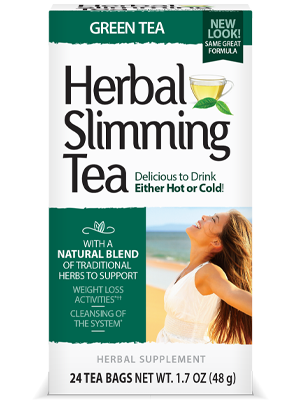 Herbal Slimming Tea Green Tea by 21st Century HealthCare, Inc., view from the front.