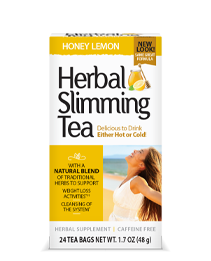 Herbal Slimming Tea Honey Lemon by 21st Century HealthCare, Inc., view from the front.