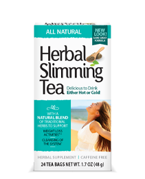 Herbal Slimming Tea All Natural by 21st Century HealthCare, Inc., view from the front.