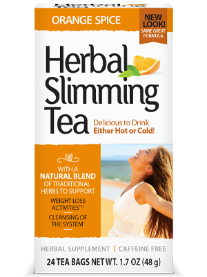 Herbal Slimming Tea Orange Spice by 21st Century HealthCare, Inc., view from the front.