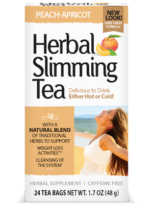 Herbal Slimming Tea Peach-Apricot by 21st Century HealthCare, Inc., view from the front.